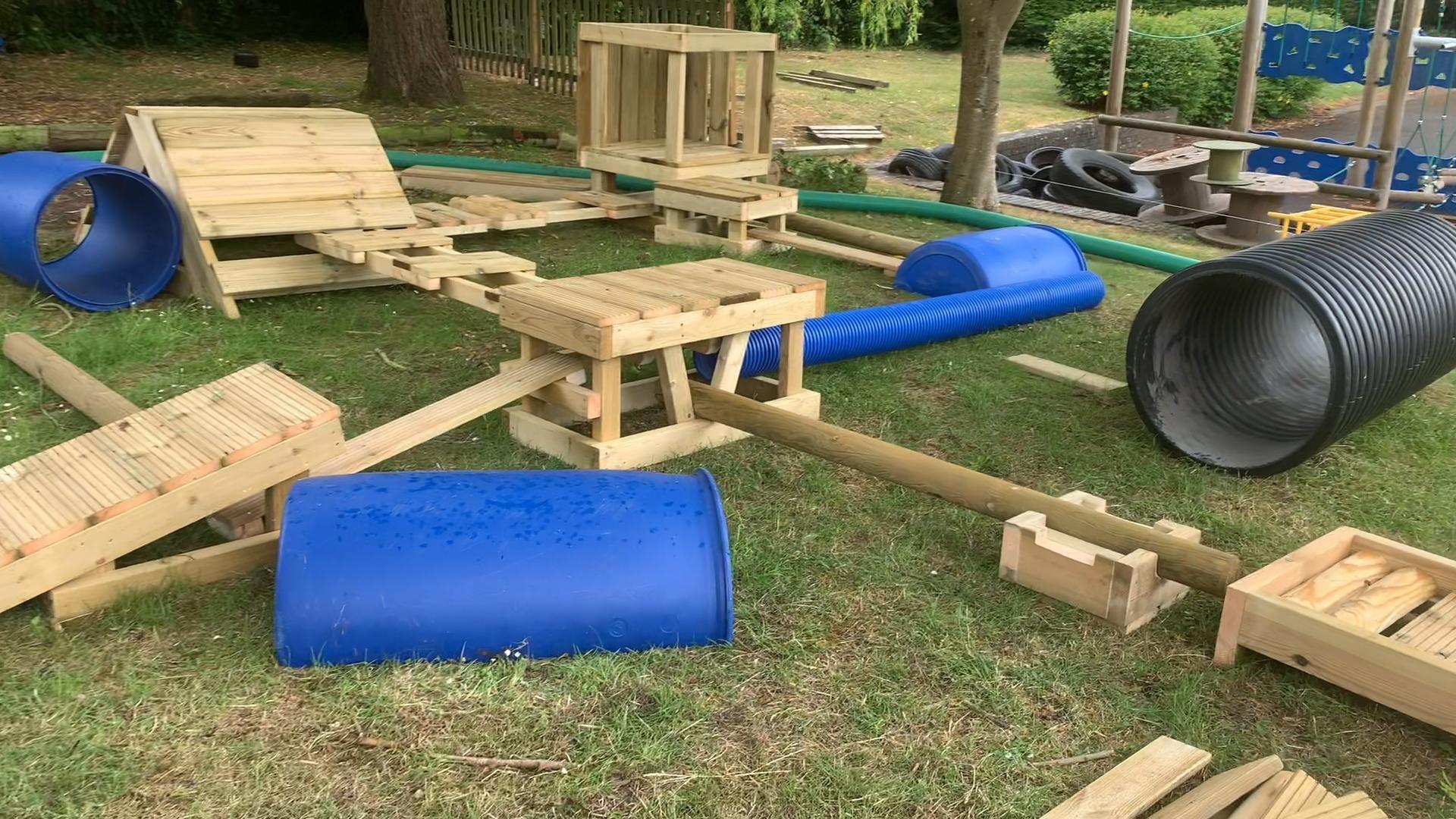 Deconstructed Play Video Backyard Dog Area Dog Playground Outdoor Play Diy backyard dog playground