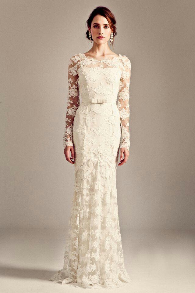 Gorgeous, Ivory, Long Sleeve Guipure Lace Column/Sheath Wedding ...