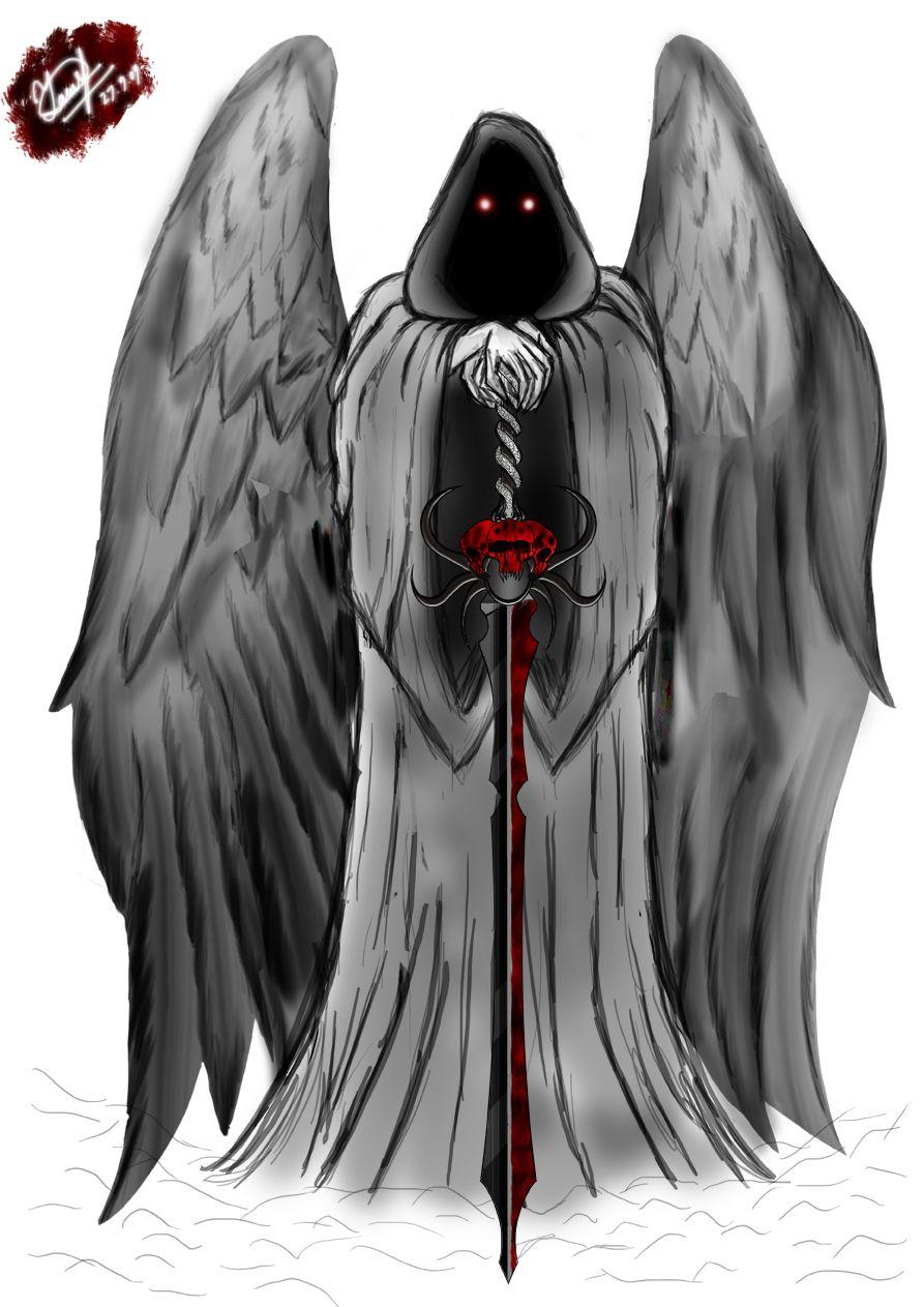 Animated Grim Reaper | Large Angel Winged Grim Reaper Tattoo Design