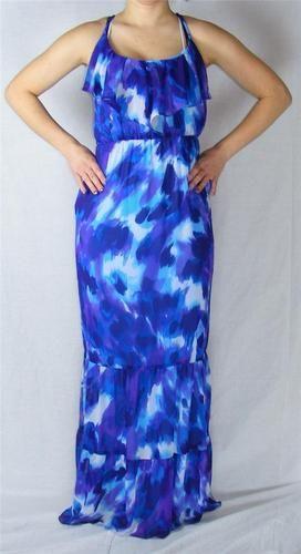 SOLD!!! New Bisou Bisou Size 14 Maxi Dress Purple Aqua White Long Same Day SHIP | eBay