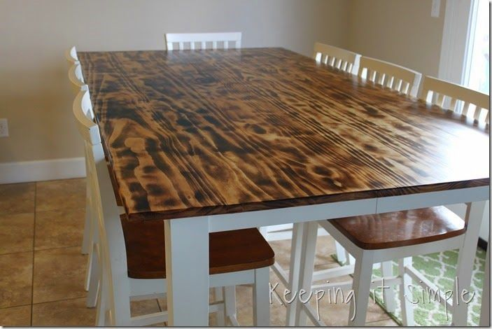 Diy Dining Table With Burned Wood Finish Using A Bernzomatic Blow Torch Keeping It Simple Diy Dining Diy Dining Table Dining Furniture Makeover