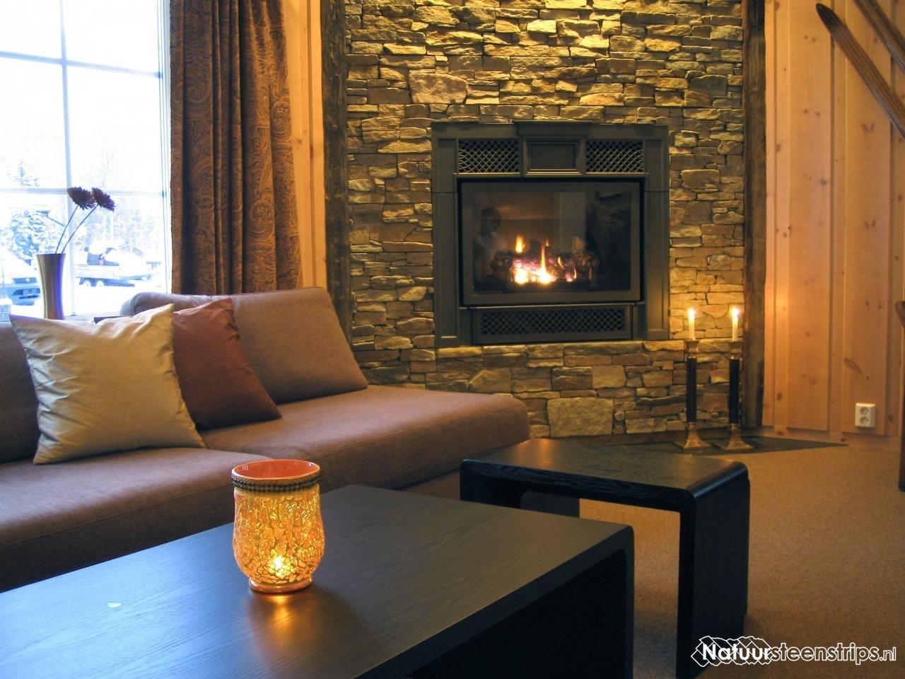 Natuurstenen open haard schouw wandbekleding binnen of buitenshuis home decor idee - Binnen deco ...