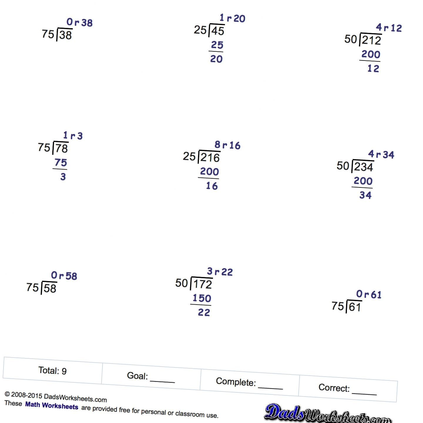 Math Worksheets Division Practice By Factors Of 25