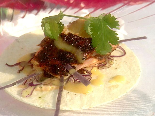 Sour Orange Bbq D Salmon Taco With Red Cabbage Slaw And Smoked