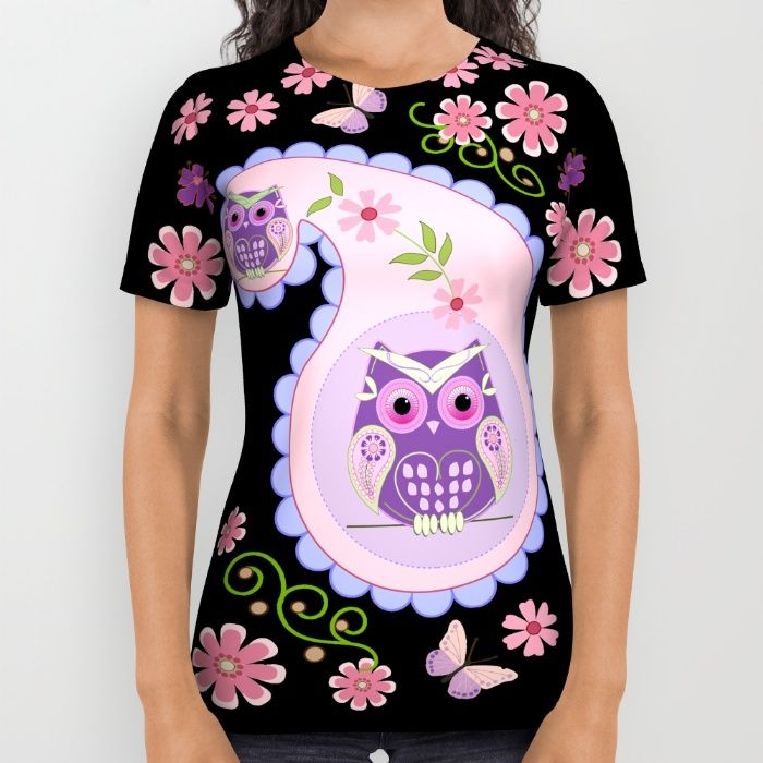 Buy Retro paisley shapes with cute owls and flowers All Over Print Shirt by thea walstra. Worldwide shipping available at Society6.com. Just one of millions of high quality products available.