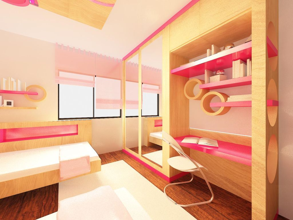 Beautiful Girls Bedroom With Study Table Built In Also Floating. Beautiful Girls Bedroom With Study Table Built In Also Floating