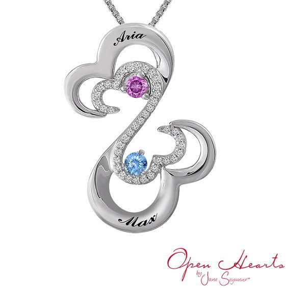 Zales Open Hearts Family by Jane Seymour Mothers Birthstone Pendant (5 Stones and 2 Names) 9OfZAe