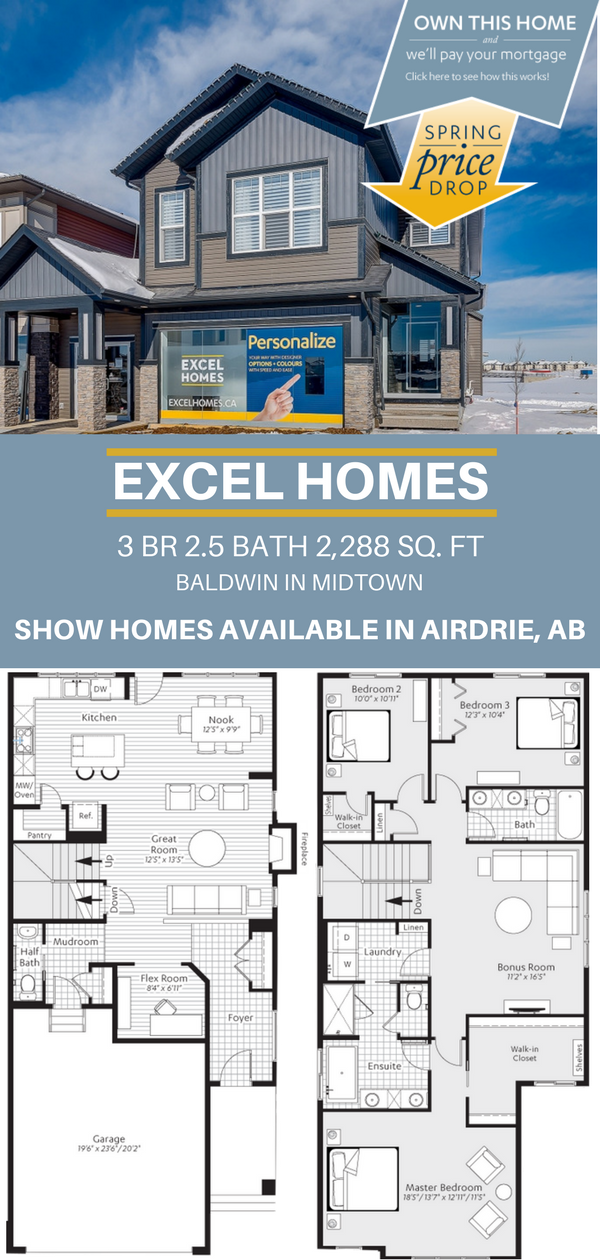 Baldwin 2 Story Floor Plan 3 Bedroom 2 5 Bathroom 2 288 Sq Ft From Excel Homes Find More Show Homes Th Narrow House Plans House Layouts Floor Plan Design