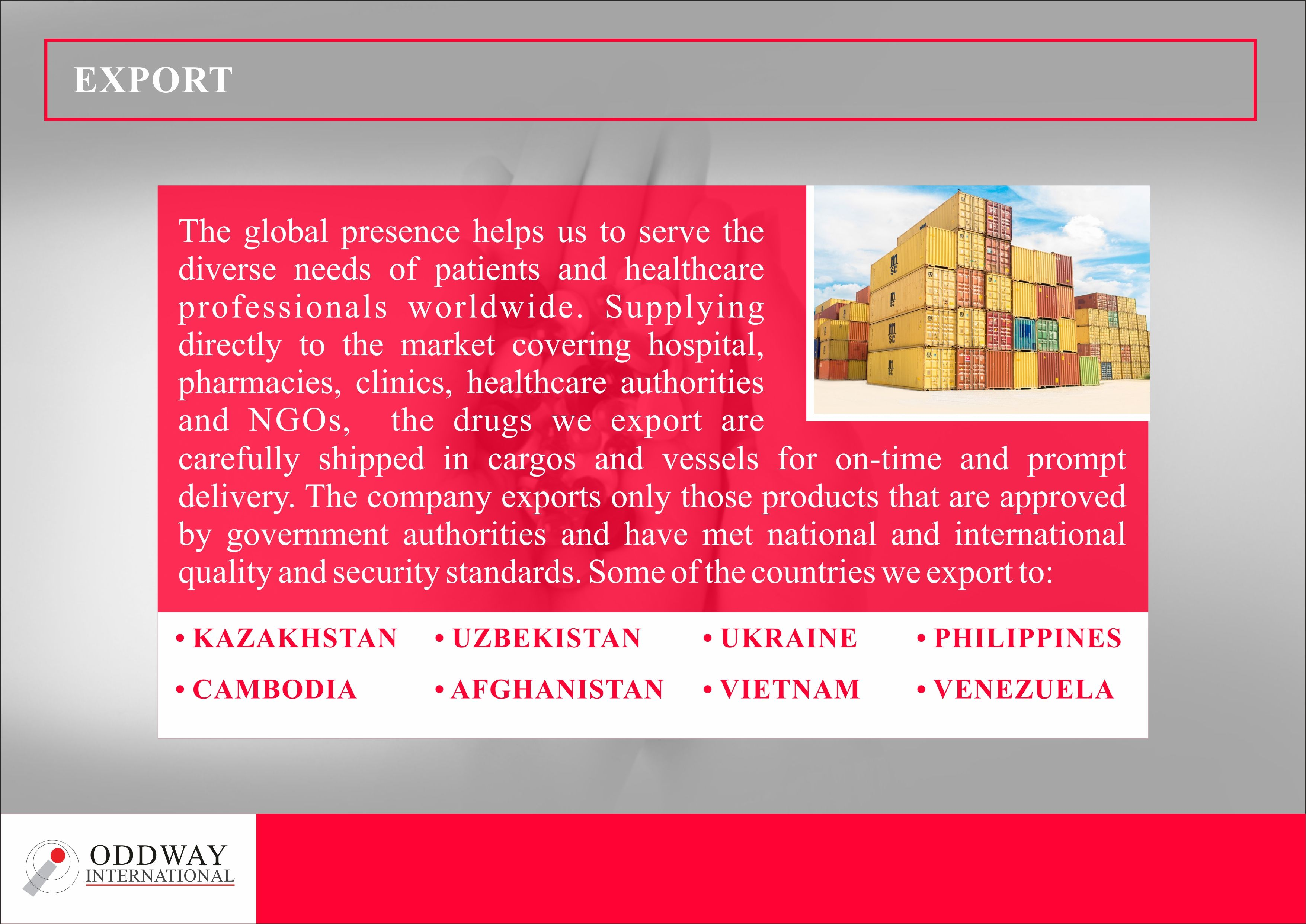 We are India's leading pharmaceutical wholesale exporter offering