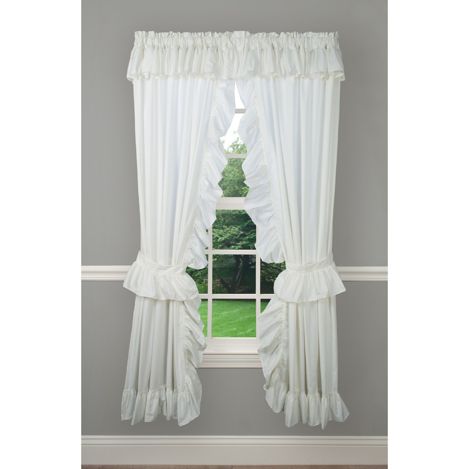 Ellis Curtain Priscillas Wide Ruffle Rod Pocket Curtain Panel Pair