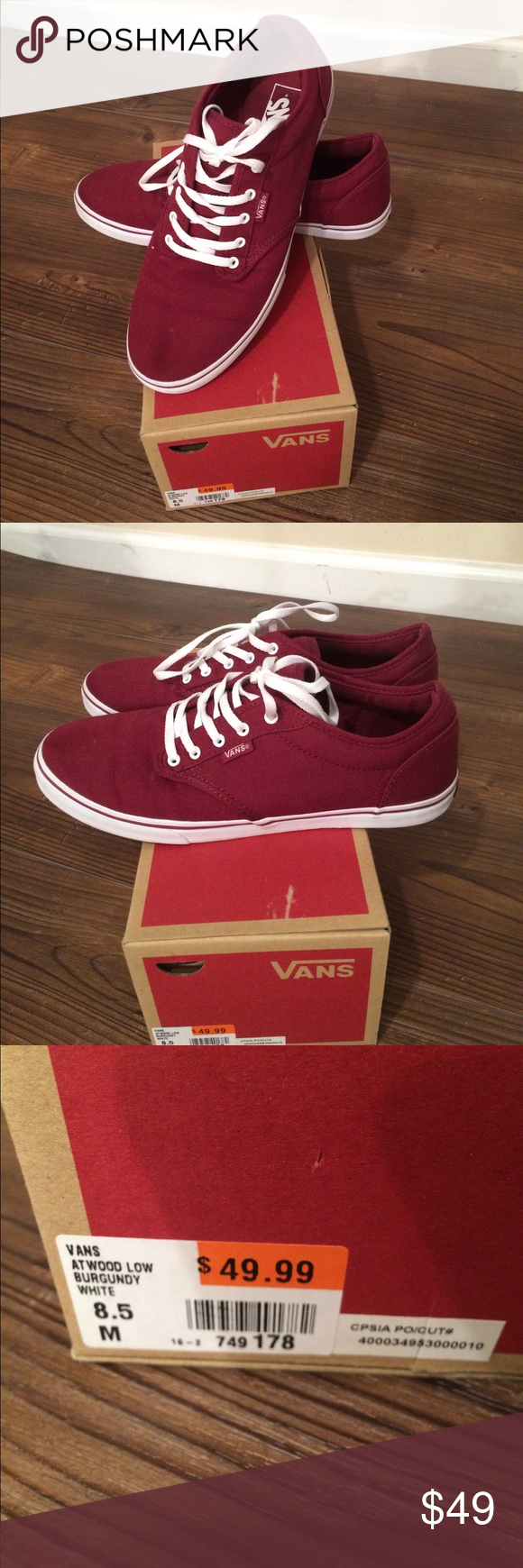 2fe2a56b72 Burgundy Vans 8.5 women s Atwood low style burgundy and white vans size 8.5  women s. Wore once and bought another style I like better.
