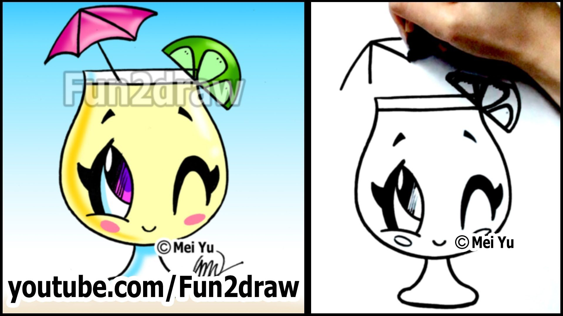 Cartoon drawing lessons how to draw a summer drink for Funny simple drawings