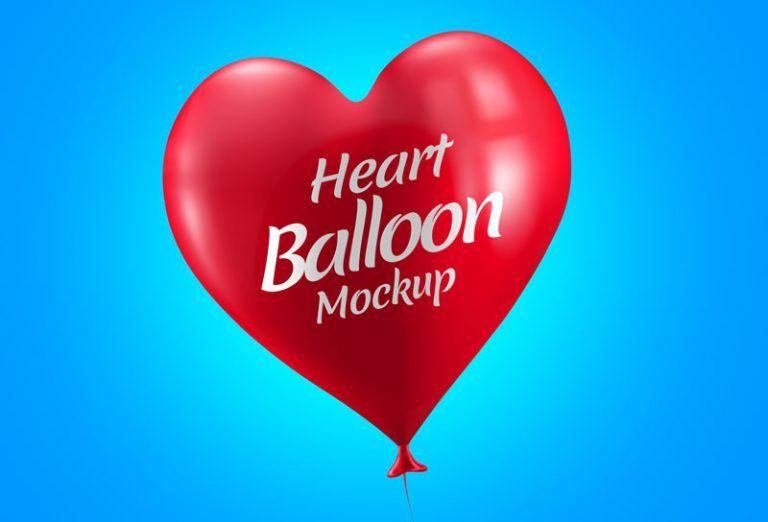 Free Lovely Heart Balloon Design Mockup In Psd Com Imagens