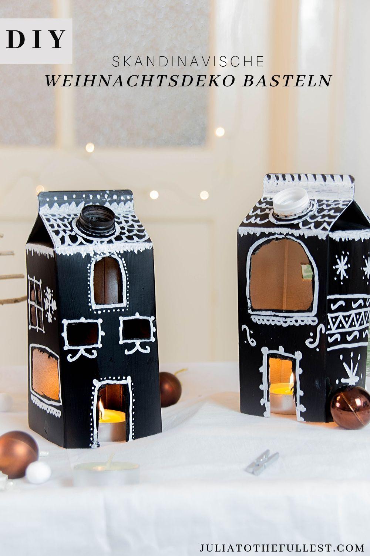 Skandinavische DIY Weihnachtsdeko basteln #adventkalenderbasteln Ohne Kerzen wäre die Weihnachtszeit wohl nur halb so schön. Mit selbstgebastelter Weihnachtsdeko im skandinavischen Stil bringen sie dir direkt noch mehr Freude. Ein schöne Upcycling Idee für Weihnachten | Weihnachtsdeko basteln Ideen #schöneweihnachten