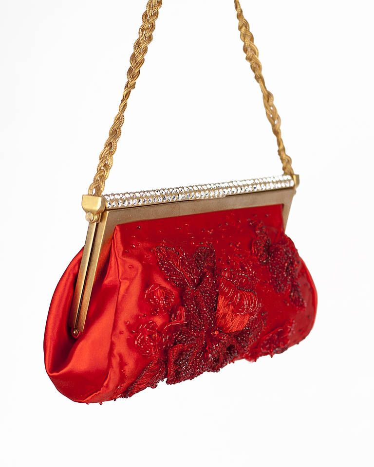 f2583883261 New VALENTINO RED BEADED EVENING CLUTCH | From a collection of rare vintage evening  bags and
