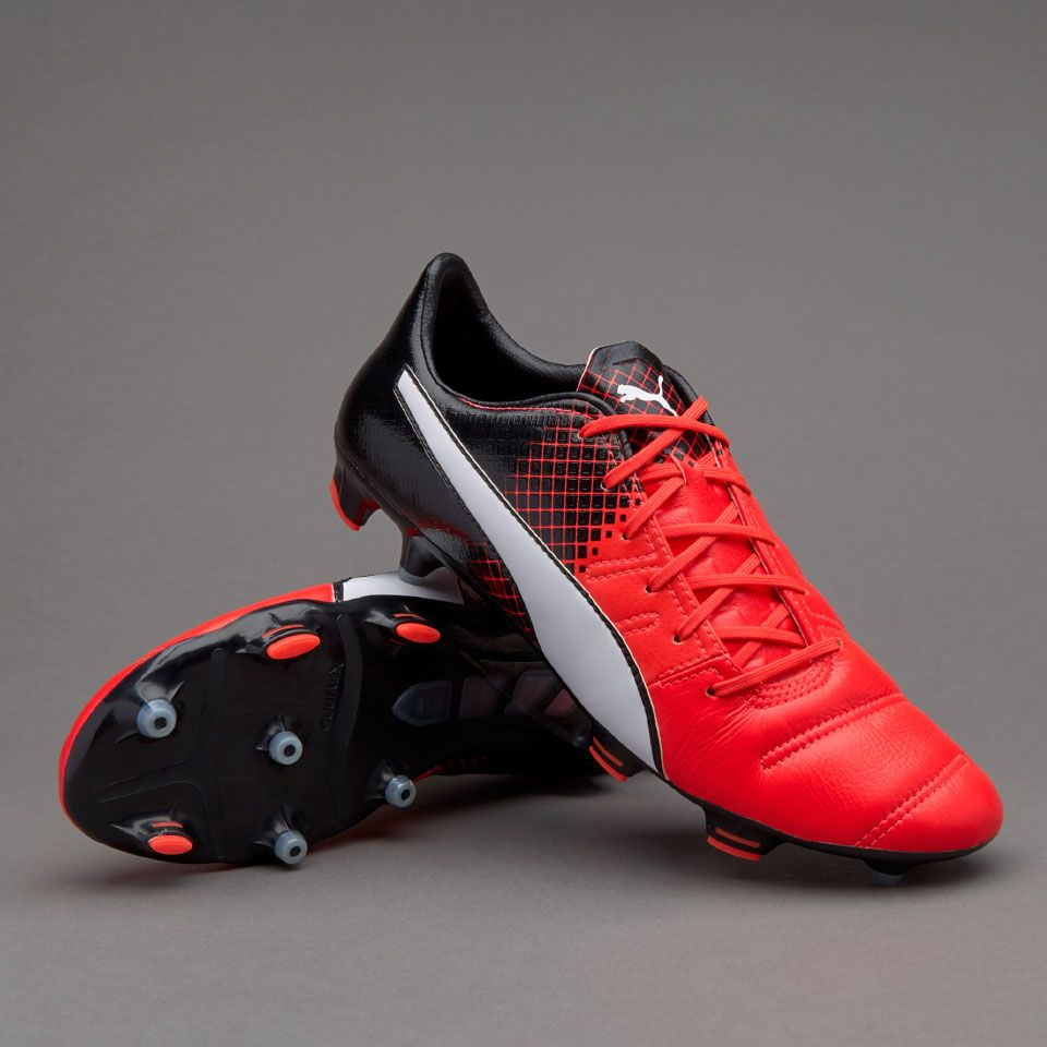 Puma evoPOWER 1.3 Lth FG - Red Blast/Puma White/Puma Black - Mens Boots -  Firm Ground - Red Blast/Puma White/Puma Black