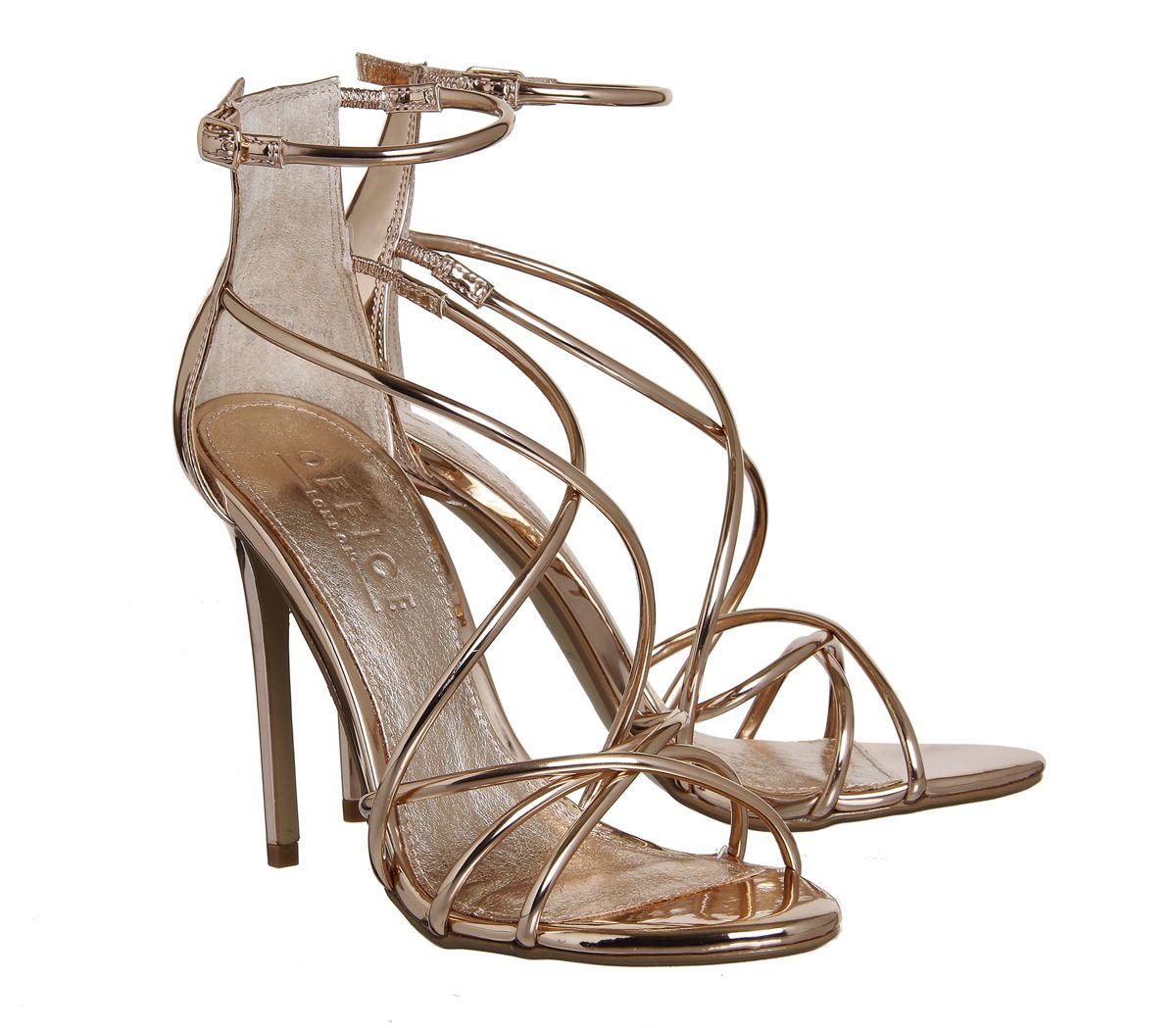 Office Angel Tubular Strap Sandals Rose Gold Mirror - High Heels