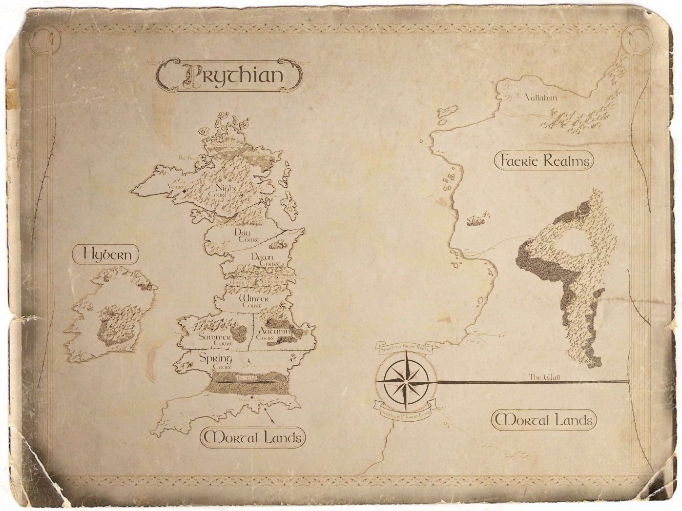 Aged Map Of Prythian From Sarah J Maas A Court Of Thorns And