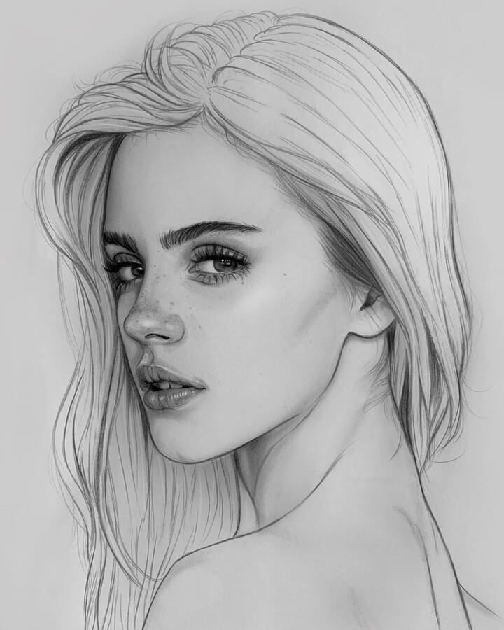 Side glance - Drawing.