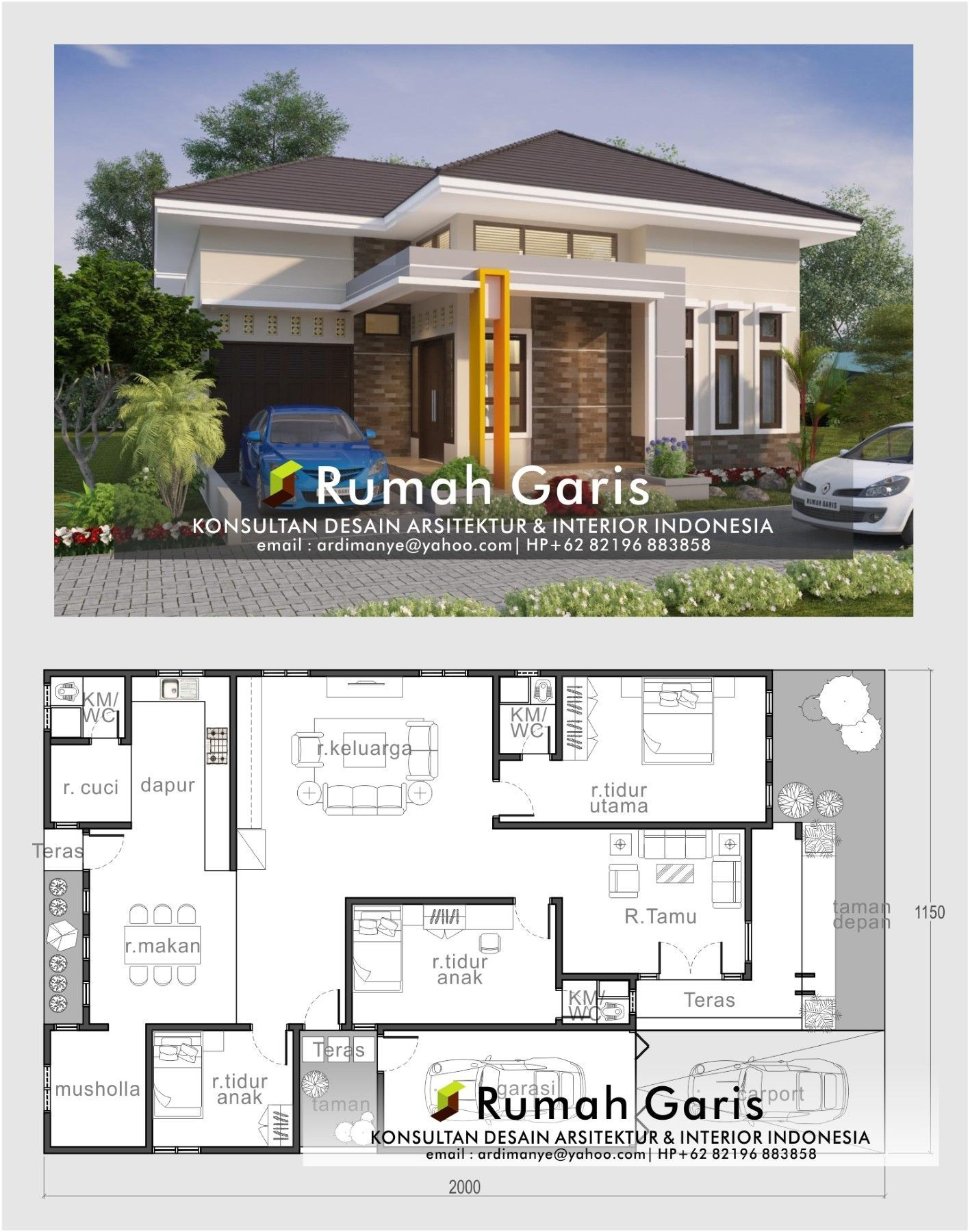 Rumah Elegan 1 Lantai Rumah Elegan Cottage Style House Plans My House Plans Home Building Design