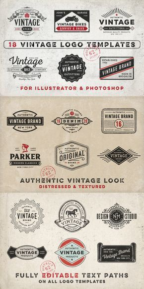 Vintage logo templates is part of Vintage logo, Retro logo design, Vintage logo design, Logo design inspiration vintage, Logo design inspiration graphics, Logo design template - 590xzw WHAT YOU GET 18 ORIGINAL LOGO TEMPLATES  Both Illustrator and hi res PSD files with editable text paths  INDIVIDUAL PNG FILES of many of the elements used with transparent backgrounds  LIST OF FREE FONTS USED Fonts are all free for personal use  Please check to see if commercial use is also allowed  PLEASE NOTE mock ups are NOT included with this pack