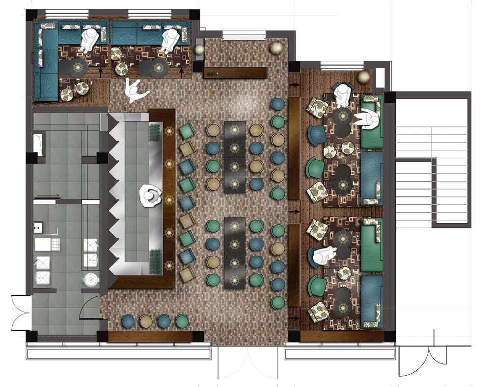 Bar floor plan design floor plan additionally 3d for Coffee shop design software