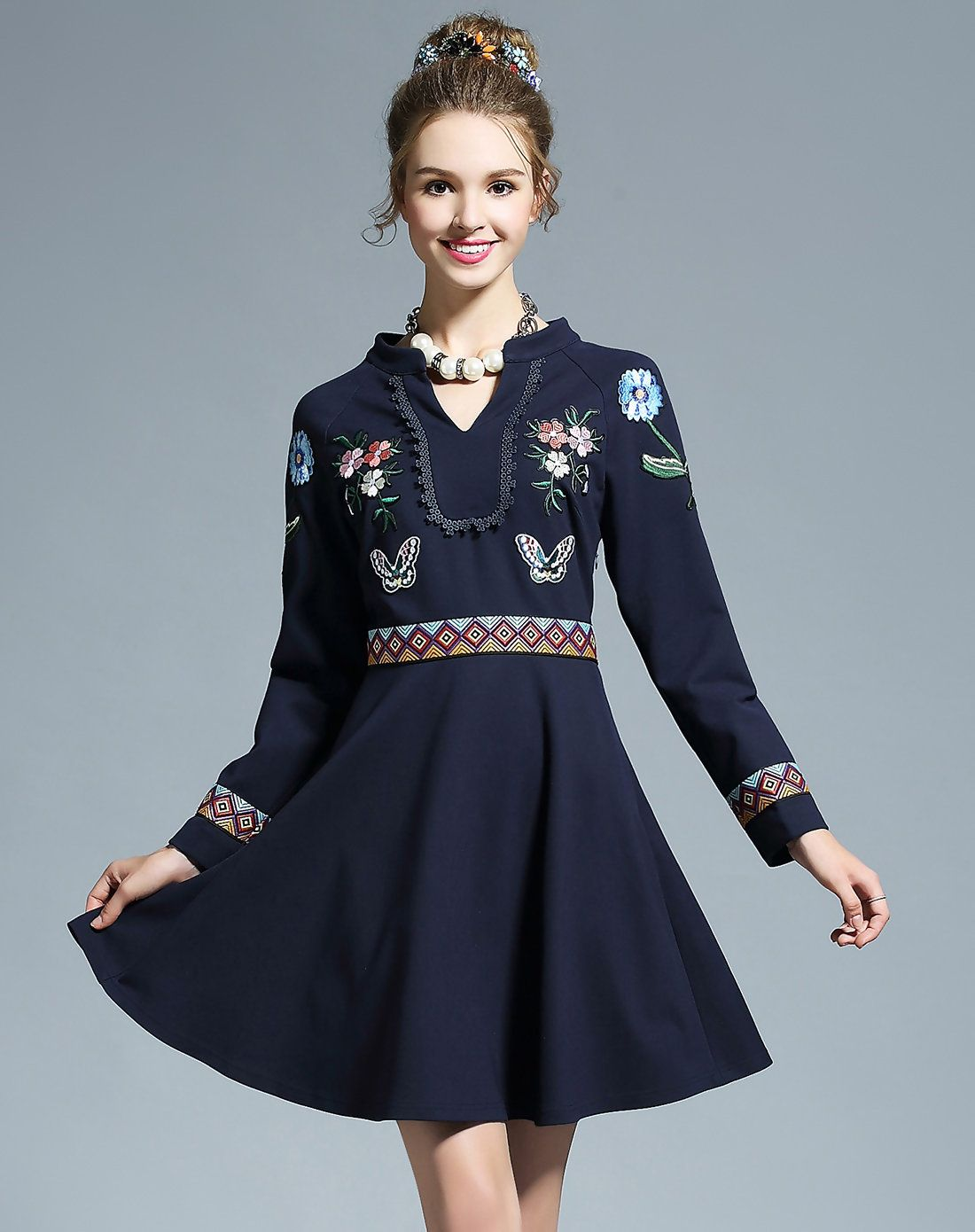 AdoreWe #VIPme A-Line Dresses - OUYALIN Blue Floral Embroidered A ...