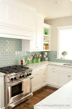 Surf Sea Glass Green Subway Tiling Instant Beach House Style Kitchen Remodel Home Kitchens Kitchen Design