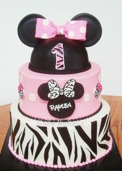 Minnie with zebra striping First Birthday Zebra party Third