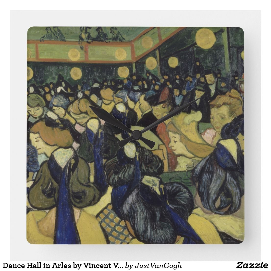 Dance Hall In Arles By Vincent Van Gogh Square Wall Clock