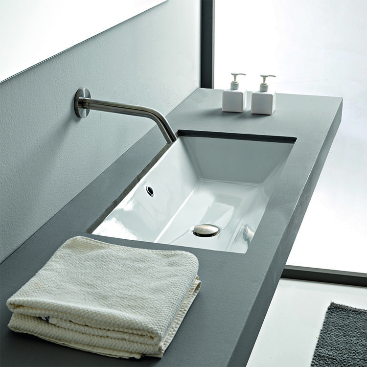 Rectangular White Ceramic Undermount Sink | Ceramic ...