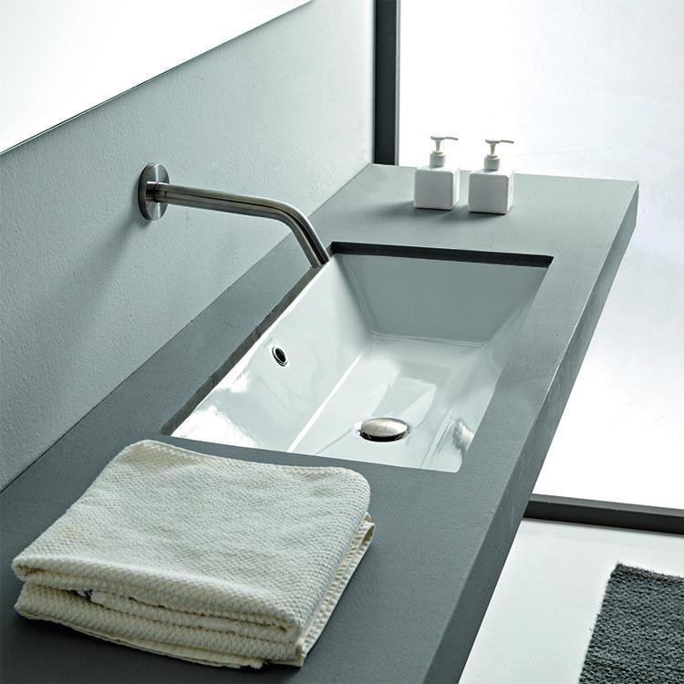 Rectangular White Ceramic Undermount Sink Modern Bathroom Sink