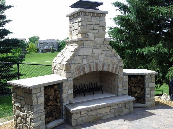 Outdoor Fireplace With Wood Storage Http Yardscapesinc Com