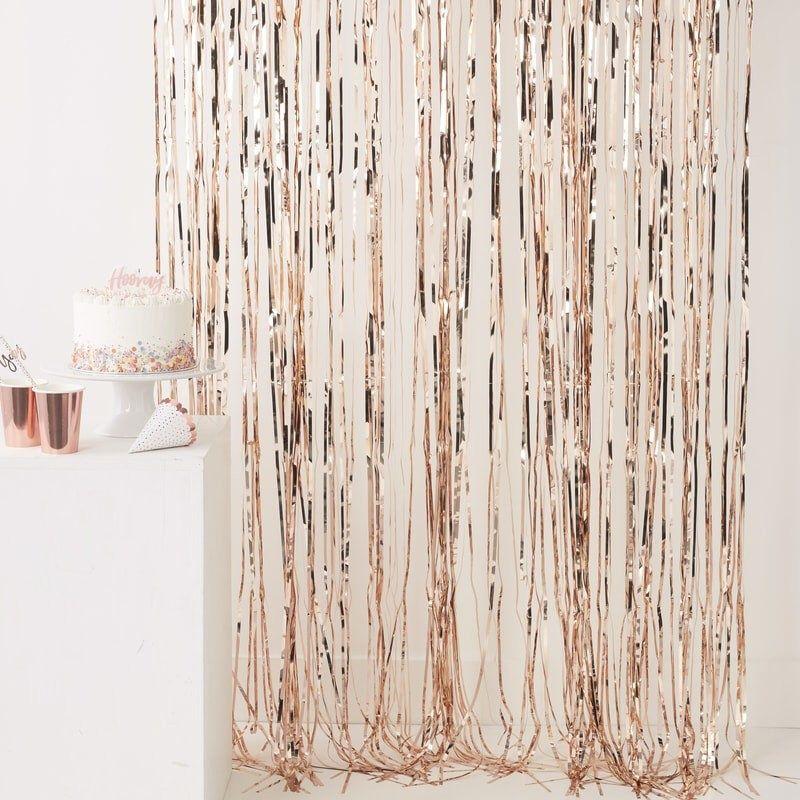 Rose Gold Fringe Photo Booth Backdrop, Streamer Backdrop for Bridal Shower, Baby Shower Decor