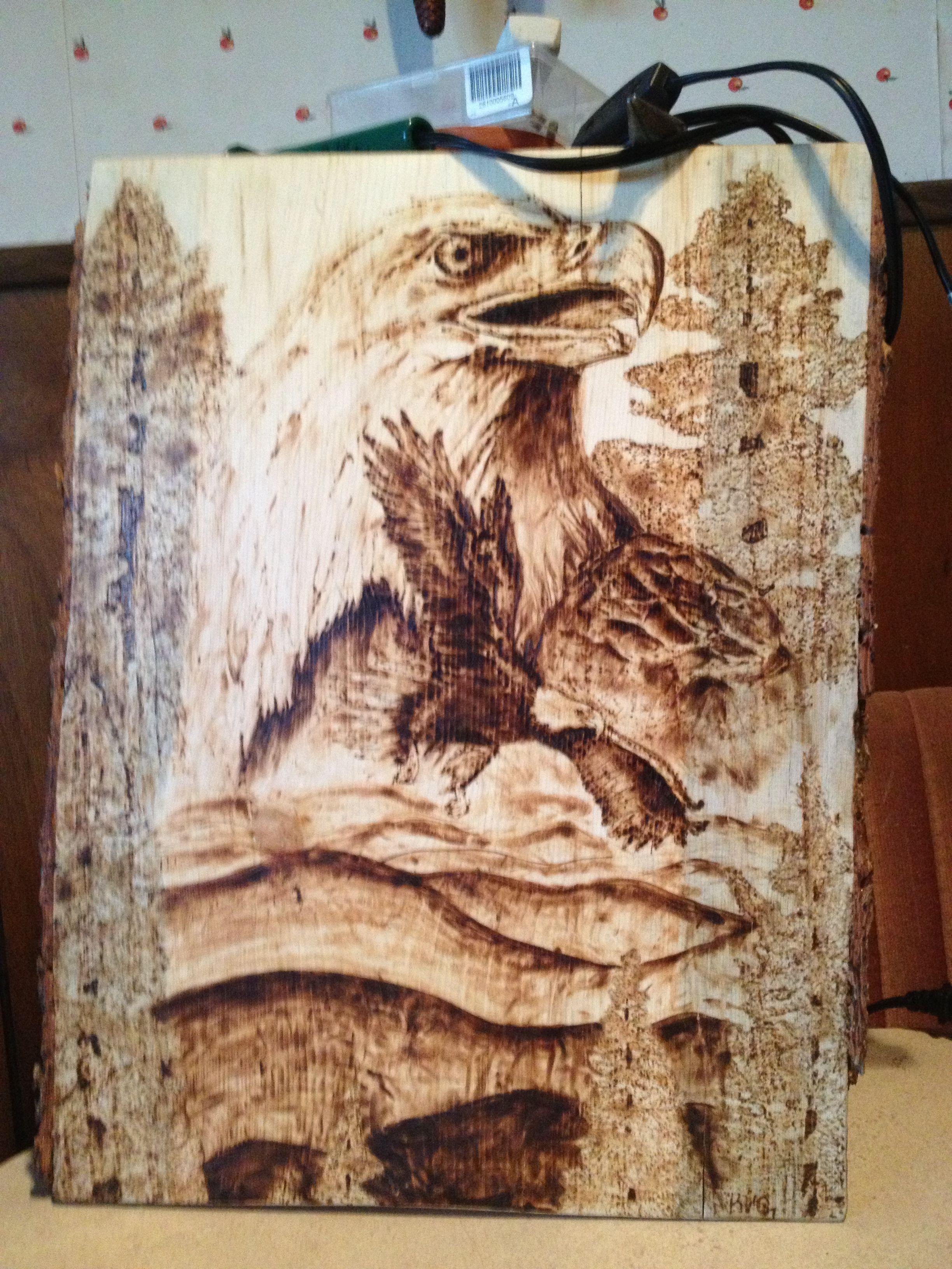 Woodburning, pyrography, eagle,