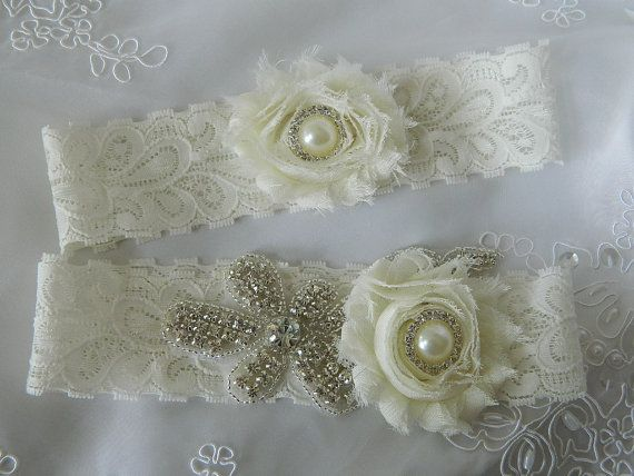 Wedding Garter Set, Bridal Garter, Ivory Lace Garter, Stretch Lace Garter Set, Ivory Garter Set, Shabby Chiffon Garter Set on Etsy, $34.85 CAD