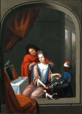 Dutch A lady at her toilet,  around 1700
