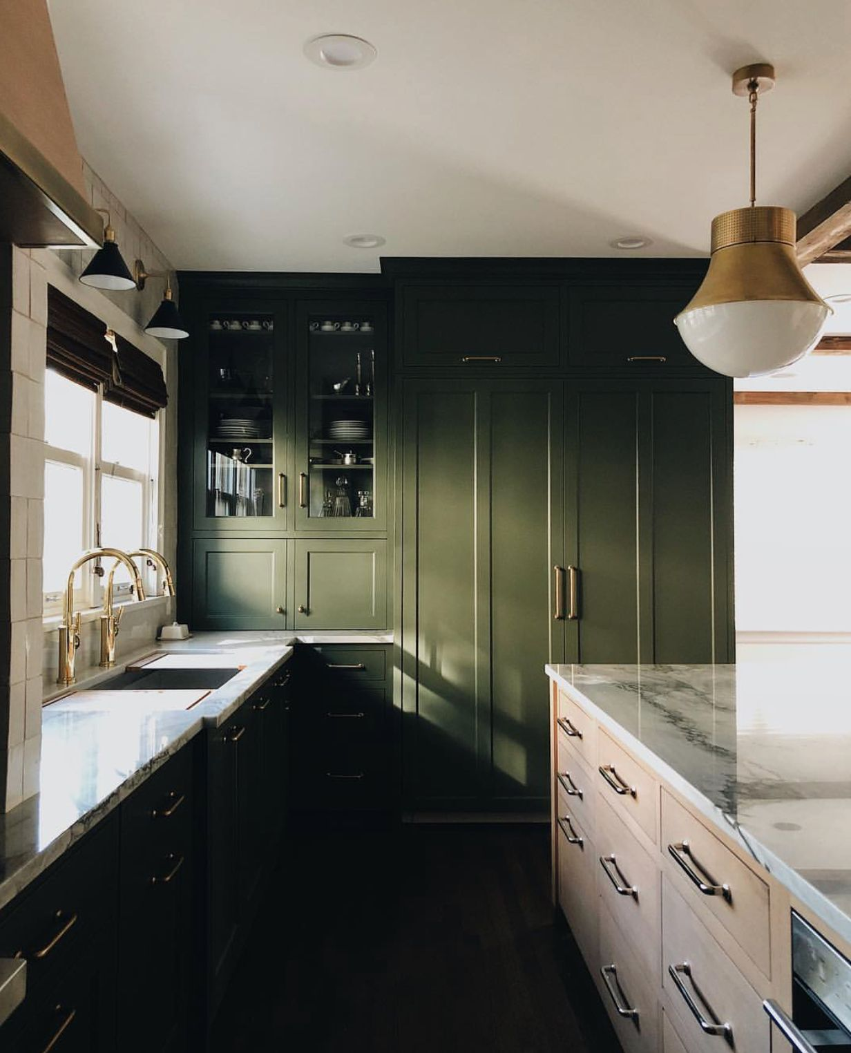 Jean Stoffer Design Olive Green Kitchen Cabinets Multi