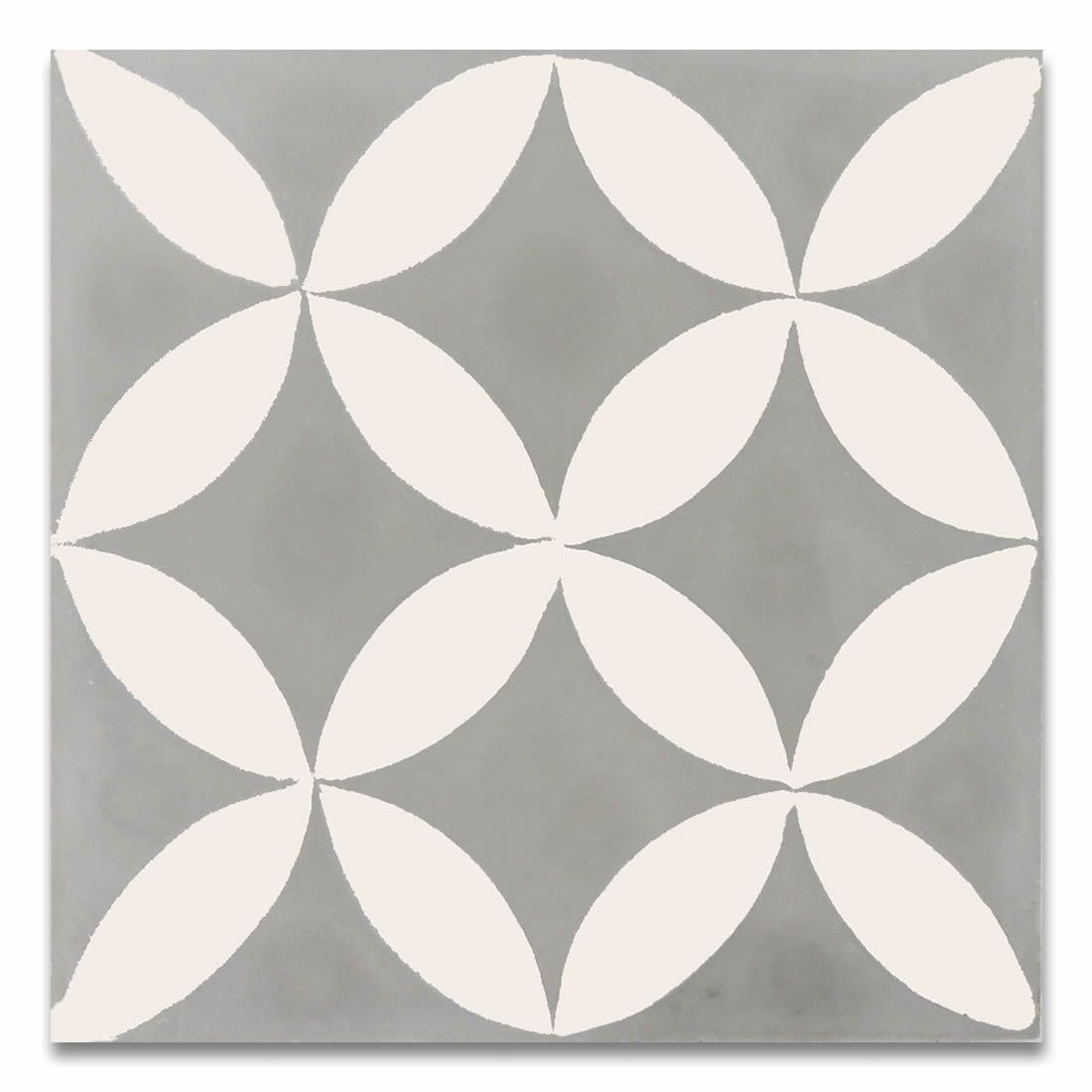 "Moroccan Mosaic Amlo 8"" x 8"" Handmade Cement Tile in White and Gray"