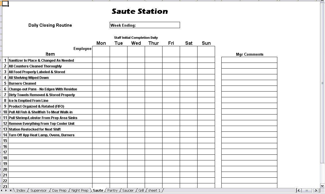 Kitchen Opening Closing Duties Chefs Resources Checklist Template Checklist Brochure Design Layout