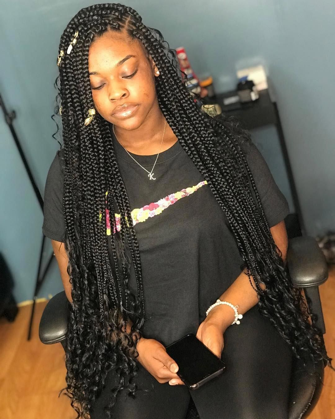 New Photographs boho Box braids Tips in 2020   Braids with curls, Box braids hairstyles, Goddess ...