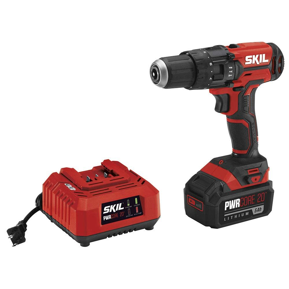 Skil 20v 1 2 Inch Hammer Drill Includes 5 0ah Pwrcore 20 Lithium Battery And Charger Hd527803 In 2020 Hammer Drill Drill Best Treadmill For Home