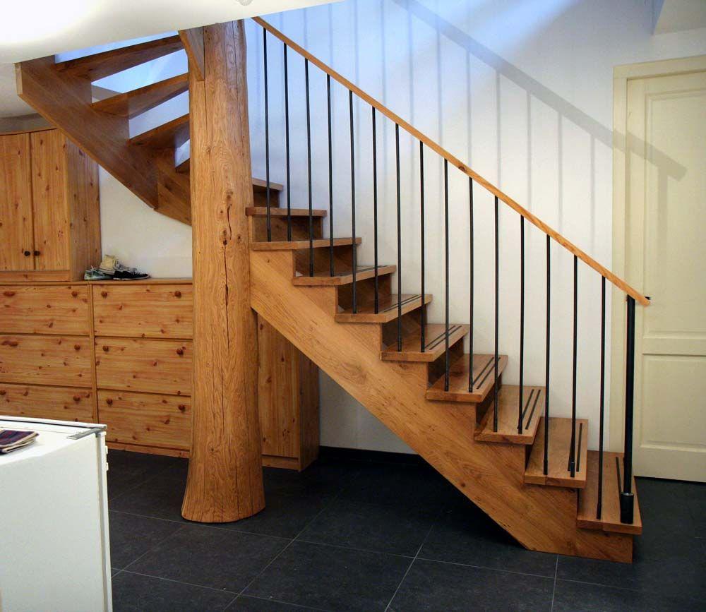 Eiken boomstam trap 1032 meubels pinterest - Leuning smeedijzeren trap ...