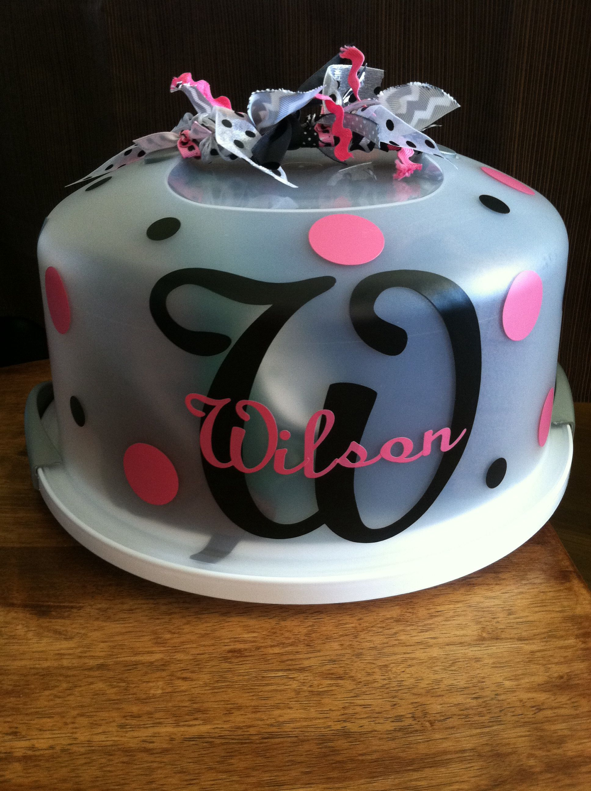Cake Carrier Target Cool Used Cricut For This Projectcake Carrier From Target And Vinyl Design Inspiration