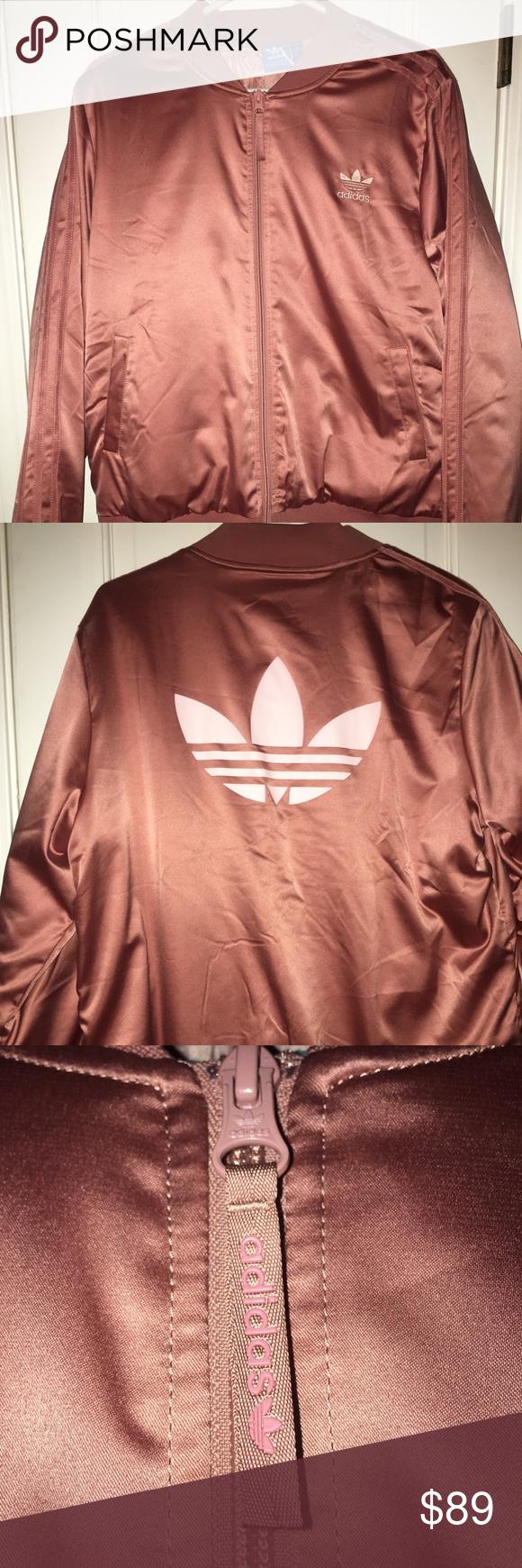 35f1ef00af0 Adidas Satin Rose Gold Bomber Jacket NWT