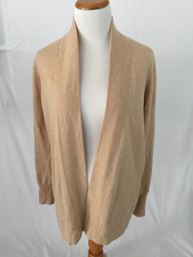 J. CREW brown 100% CASHMERE long open cardigan sweater M w ...