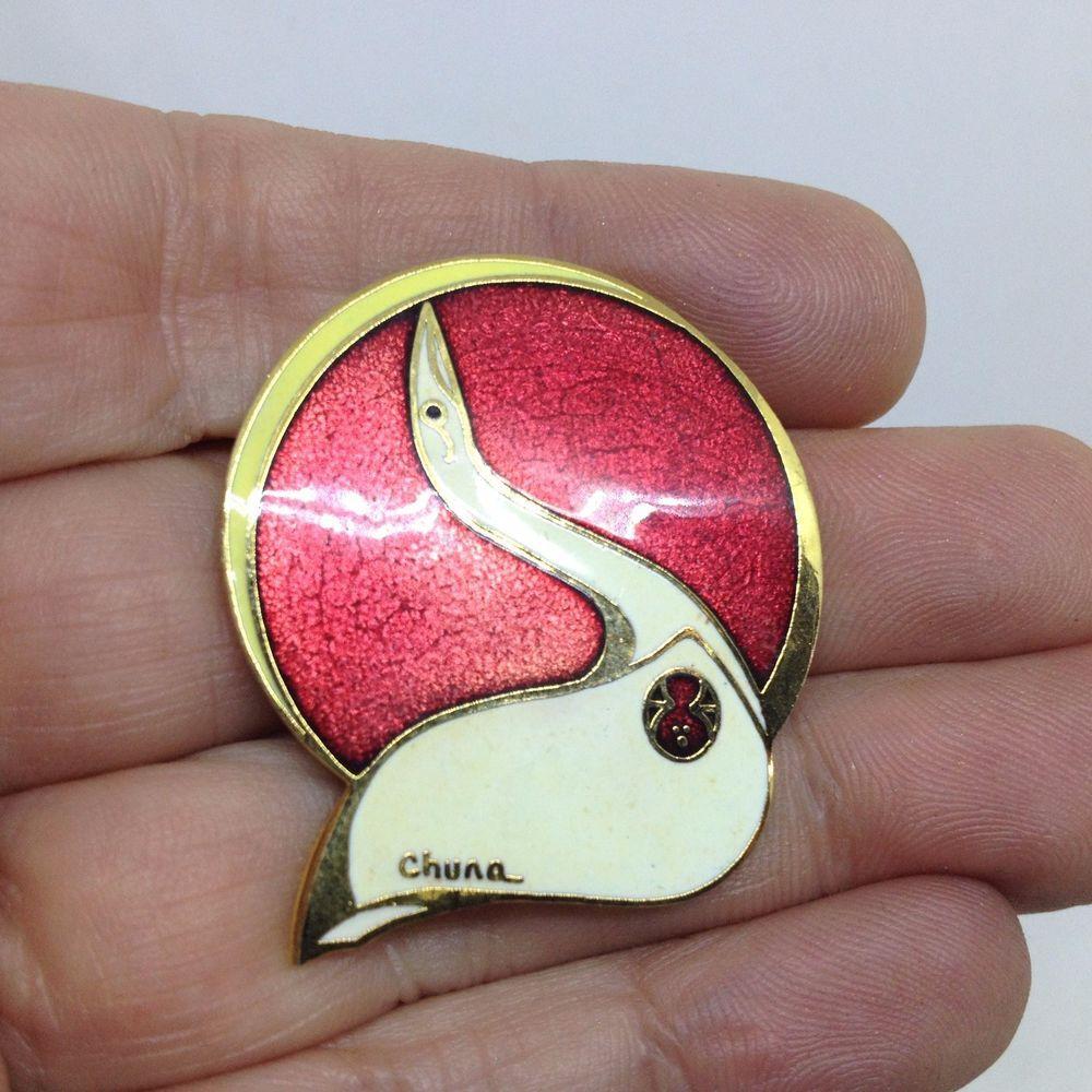 9ba7ecfa9 Vintage ARTIQUE Signed CHUNA BIRD BROOCH PIN Cloisonne Enamel Gold Tone  Jewelry #Artique