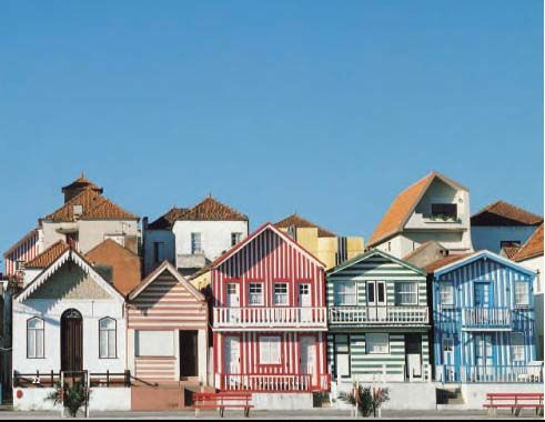 I love these striped houses in Portugal