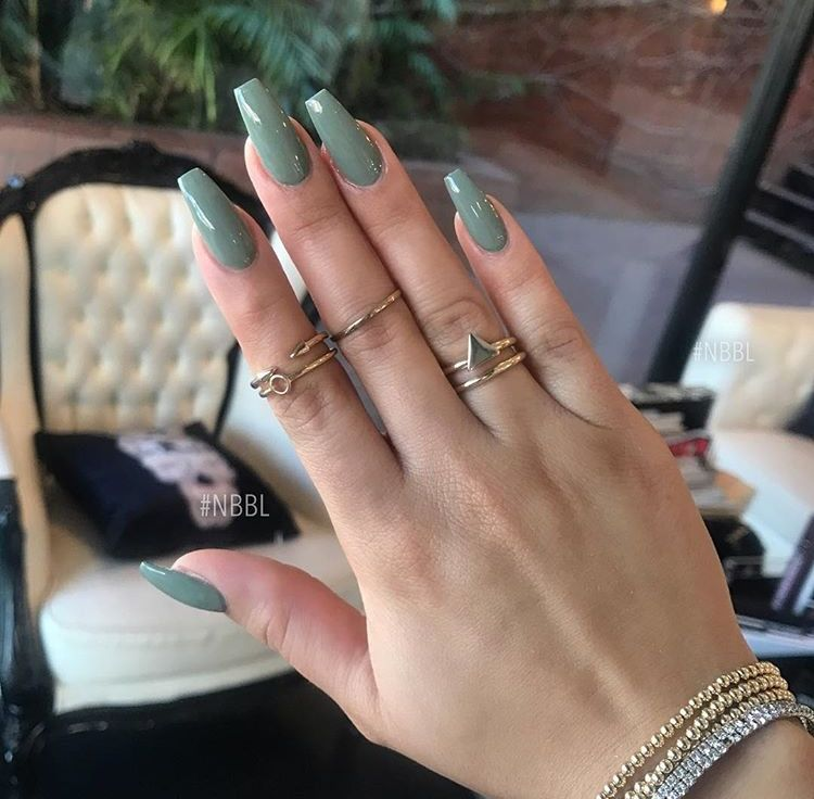 Olive Green Coffin Nails Green Nails Summery Nails Long Acrylic Nails