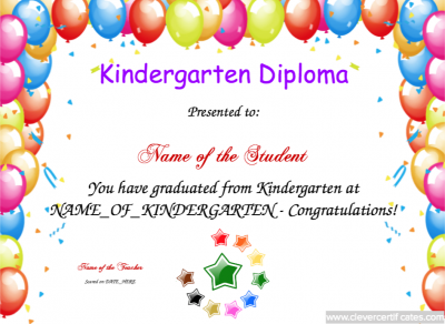 Kindergarten Diploma Template Free To Customize Download Print